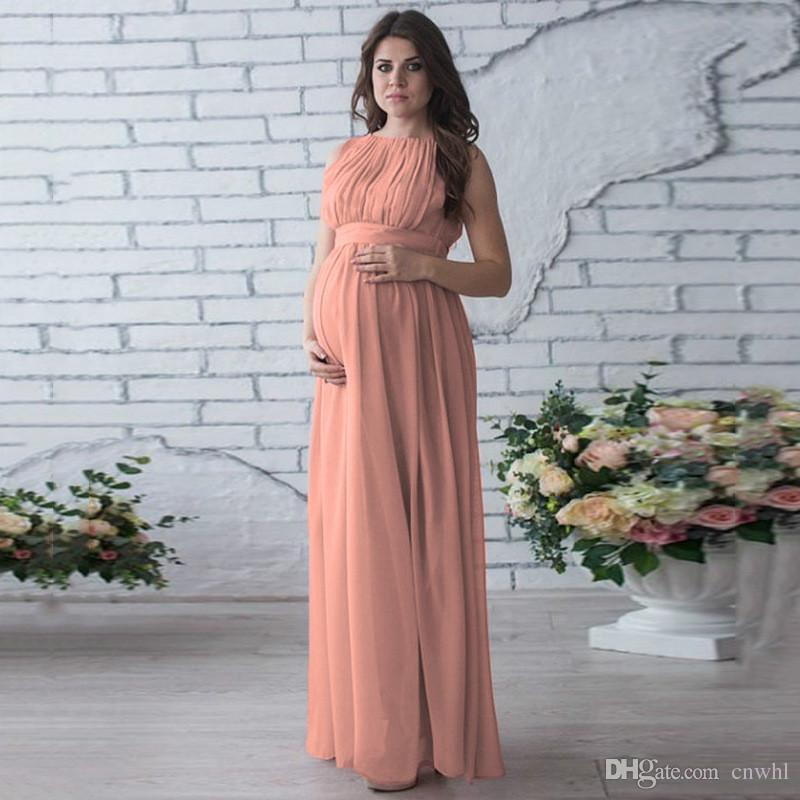 4cd8a4c3a Compre Venta Caliente Vestido De Maternidad Apoyos De La Fotografía Desgaste  Del Embarazo Elegante Vestido De Noche Del Partido Ropa De Maternidad Para  ...