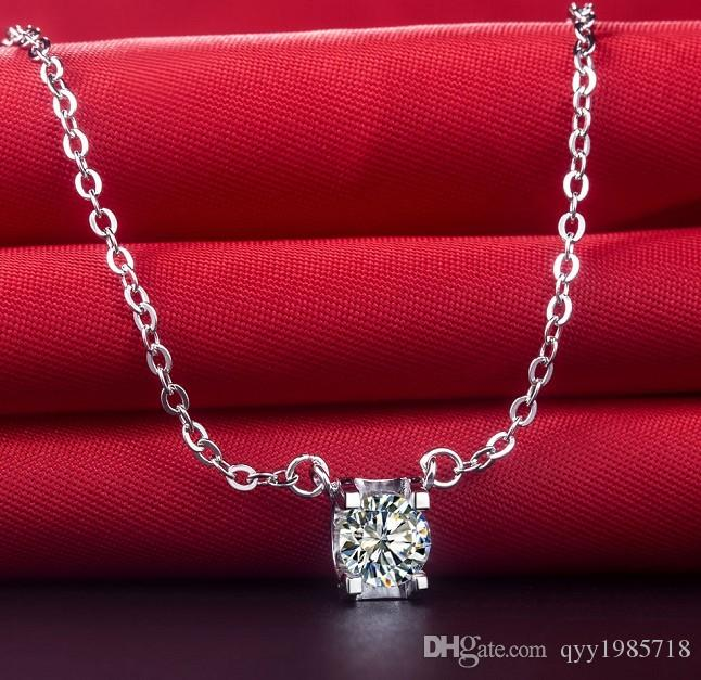 Brilliant 1Ct Round Cut Synthetic Diamonds Pendant for Her 925 Sterling Silver Pendant Necklace 925 Necklace White Gold Color