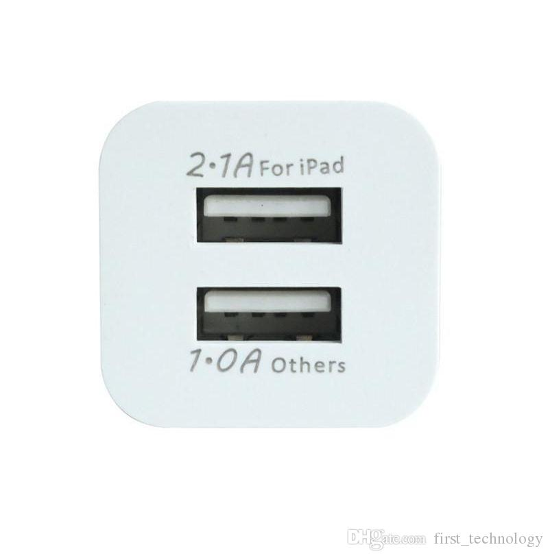 2018 Metal Dual USB wall Charging Charger US EU Plug 2.1A AC Power Adapter Wall Charger Plug 2 port for Iphone Samsung Galaxy Tablet Ipad