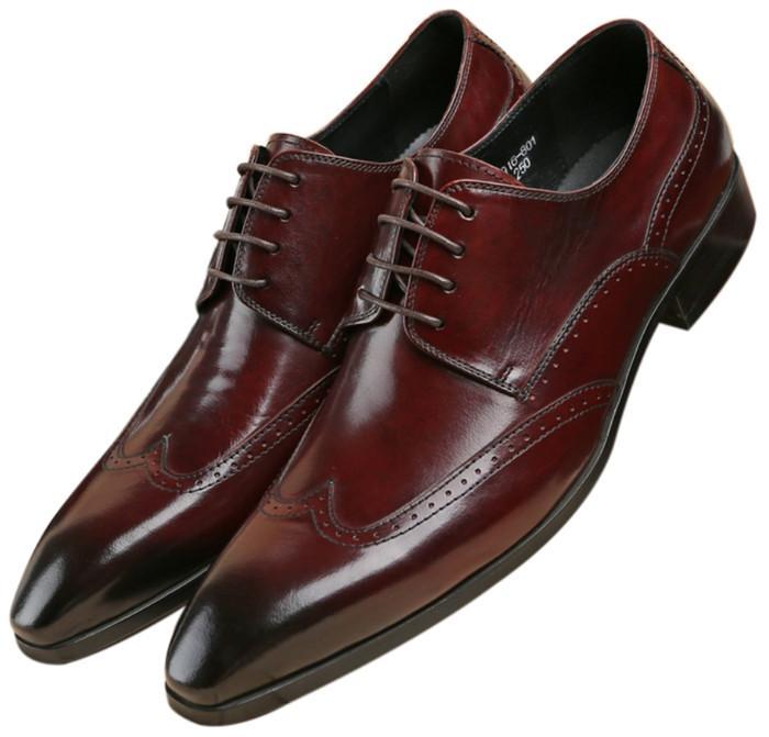 6db2de7b84e76 Compre Moda Puntiaguda Toe Negro   Tan Zapatos De Boda Zapatos Para Hombre  De Negocios Vestido Oxfords De Cuero Genuino Baile Para Niños A  116.96 Del  ...