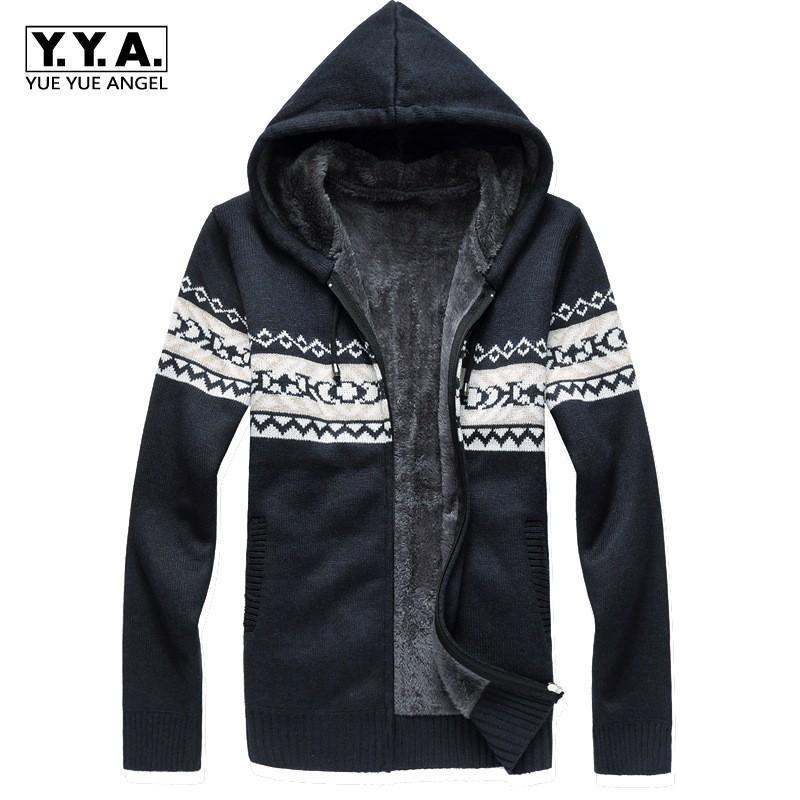 comprare on line 4403a e9319 Moda modello con cappuccio maglione uomo fodera in pelliccia inverno caldo  cardigan masculino lavorato a maglia maglione spesso cappotto maschile ...