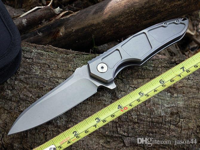 Excelente S35VN cuchillo plegable tc4 aleación de titanio manija bola rodando durable, suave y de alta calidad cuchillo de bolsillo cuchillo de supervivencia
