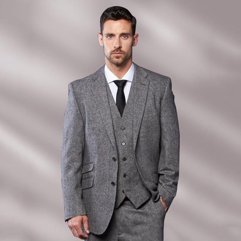 Compre Traje De Novio De Tweed Gris Para Hombre Chaqueta De Blazer Slim Fit  Novio Smoking Por Encargo Mejor Hombre De 3 Piezas De Baile Terno Masculino  A ... 1931c811758