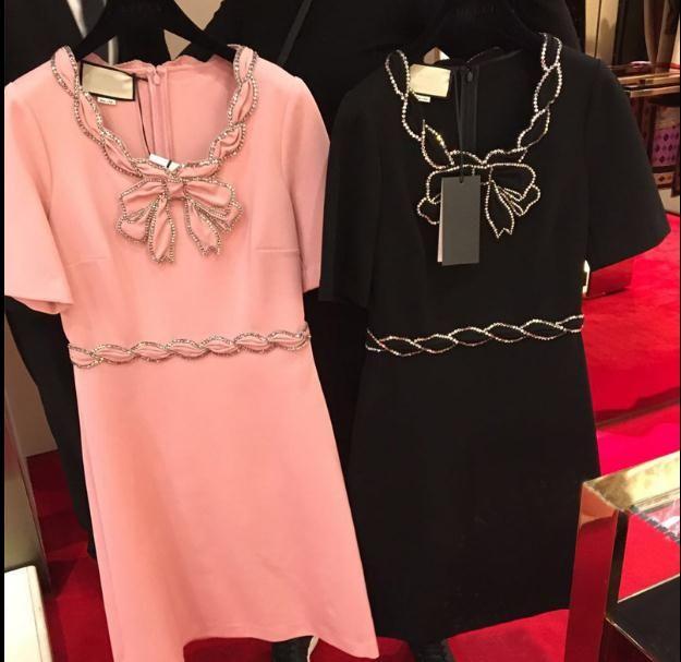 2018 Black/Pink Scoop Neck Short Sleeves Short Women Dress High End Bow Crystals Beads Brand Vestidos De Festa g15