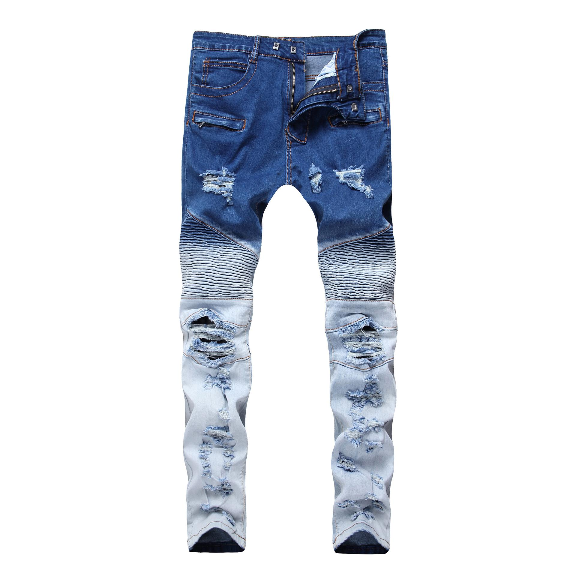 02900ea46c Compre Pantalones Vaqueros Para Hombre Locomotora Extranjera Jeans  Ajustados Cremallera Primavera Elasticidad Doble Color Agujero Roto  Mediados De Cintura ...