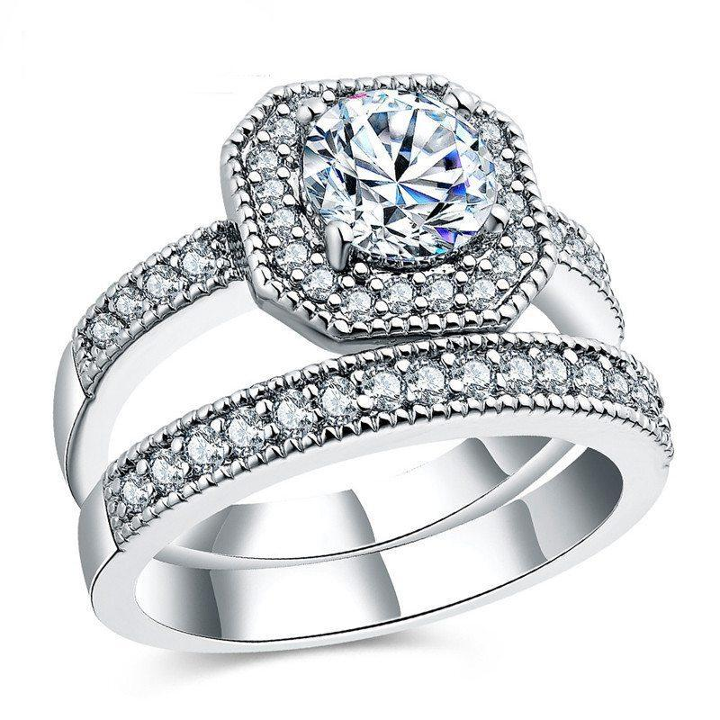 Silver Octagon Diamond Ring Bridal Set Ring For Women Men Wedding