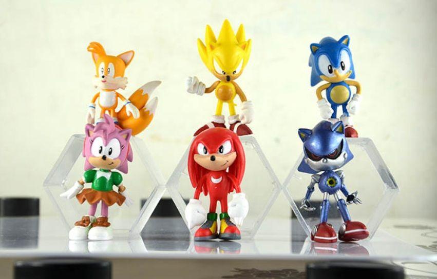NUOVO 7cm Spedizione gratuita Sonic The Hedgehog 1Lot = 6pcs SEGA Figure Giocattolo in PVC Personaggi Sonic Figura Giocattolo Azione Ottimo per regalo DHL LIBERO