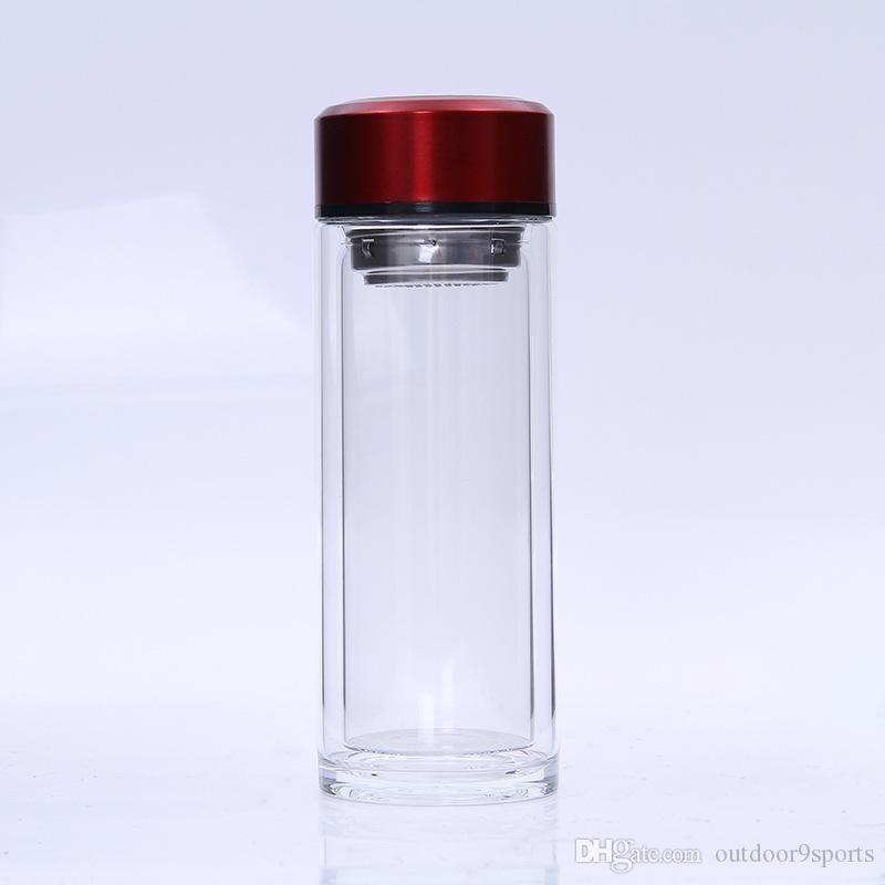 New Transparent Double Glass Cup Portable Outdoor Sports Cup Hiking Camping Filter Crystal Cup Water Bottles