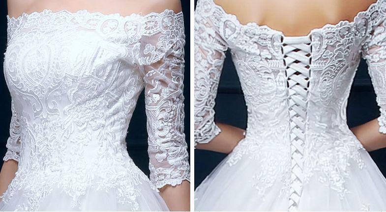 Hot Sale! A Line Wedding Dresses Bateau Neck Country Long Sleeves Lace Appliques Bridal Dresses Floor Length Flower Dress Custom Made W07B