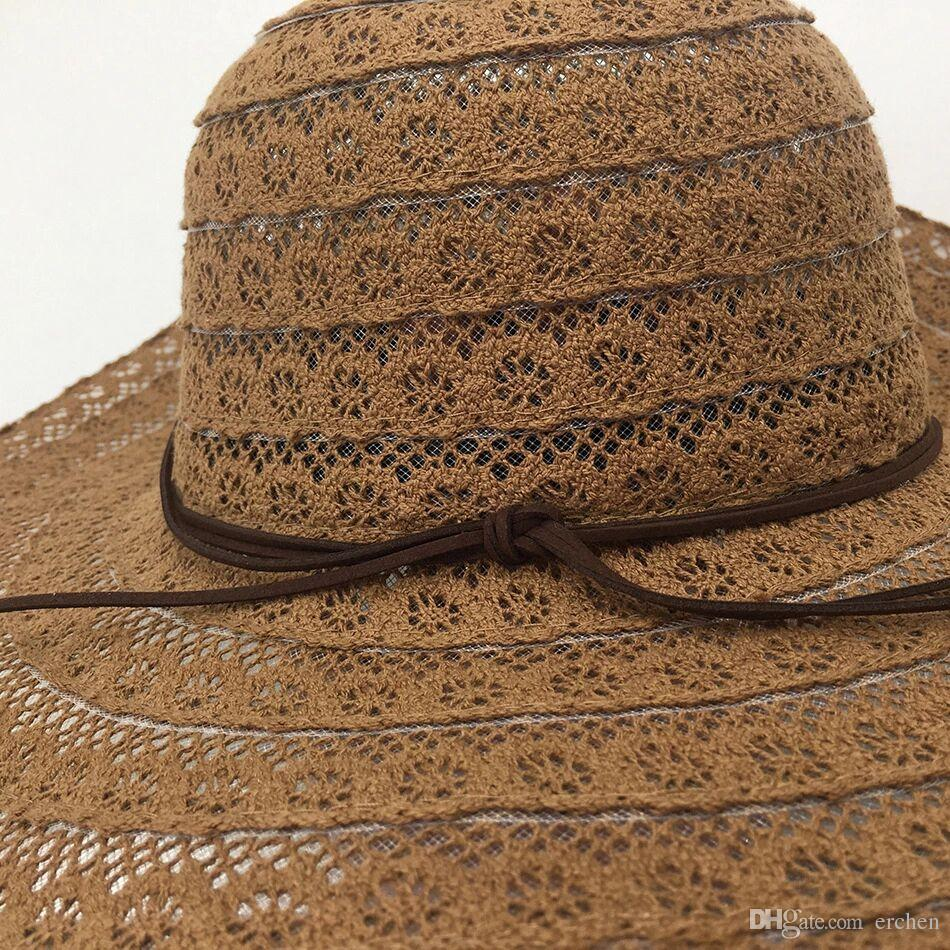 50e75f5e565101 New Style Straw Hollow out Lace Hat For Ladies Korean Sun Protection ...