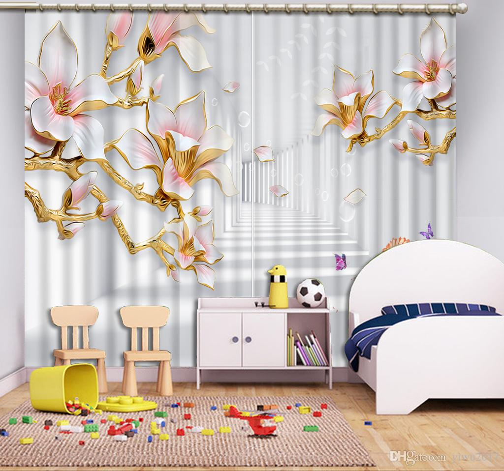 Stereoscopic Flowering branches Modern style Blackout Curtain For Living room Window Custom made 3D Curtain