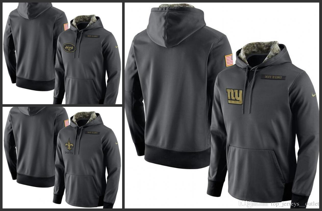 buy online 06f23 a17e1 New York Jets New York Giants New Orleans Saints Men Anthracite Salute to  Service Player Performance Hoodie