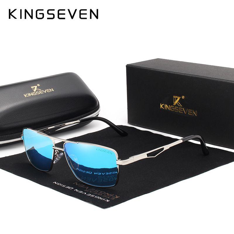 bb21e85671e0f Compre KINGSEVEN Marca Clássico Quadrado De Plástico Polarizada Homens  Óculos De Sol Dos Homens Óculos De Sol De Condução De Pesca De Alumínio  Eyewear N7906 ...