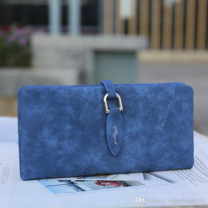 Frauen Leder Blatt lange Brieftasche weibliche Geldbörse Wechselverschluss Geldbörse Geld Tasche Kartenhalter Womens Handtasche