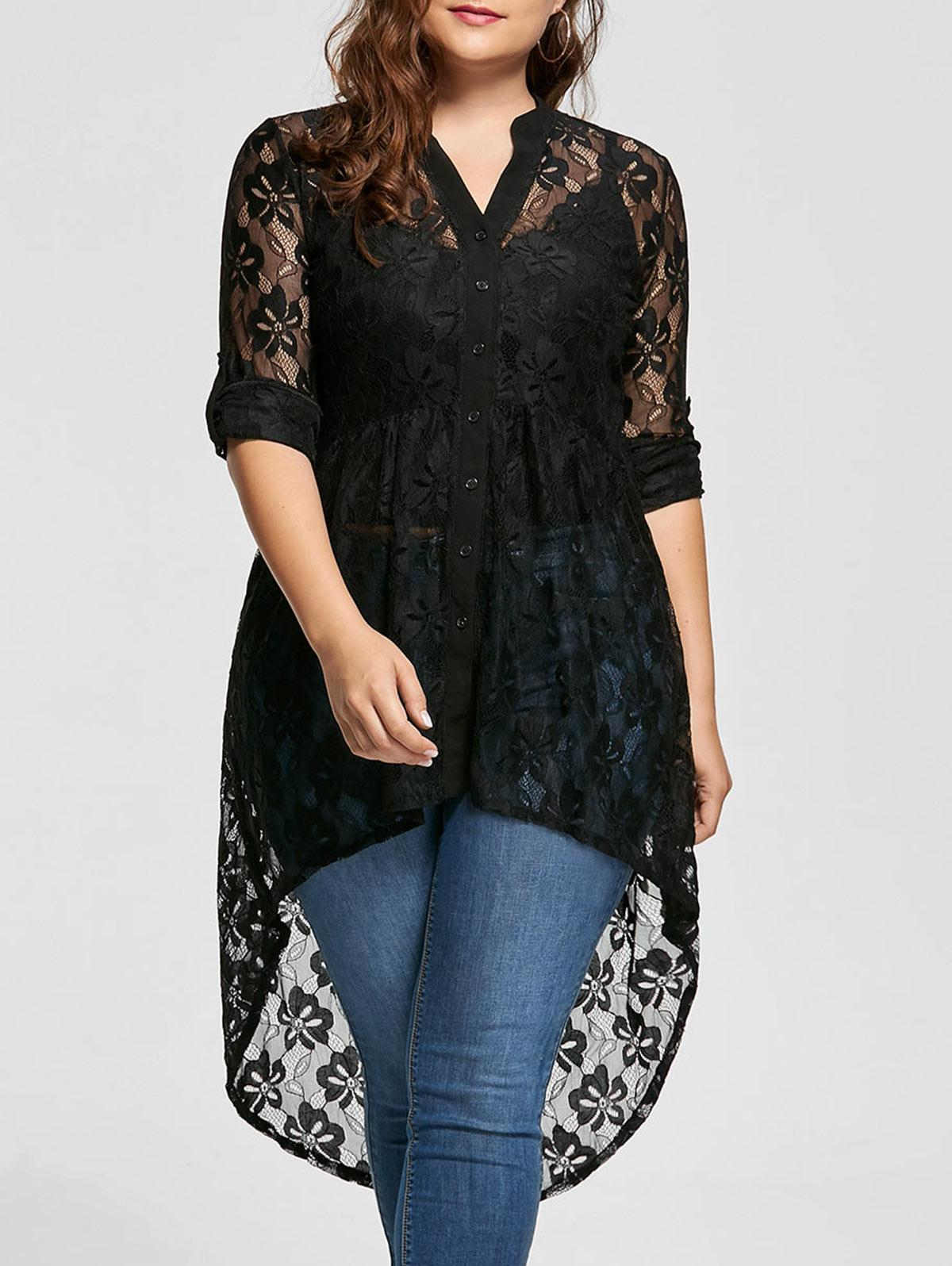 f962015c642d68 Women Plus Size Blouse Spring Autumn Long Sleeve High Low Lace Shirts See  Through Button Up Ladies Big Size Female Tops Raid Shirt T Shirts In A Day  From ...