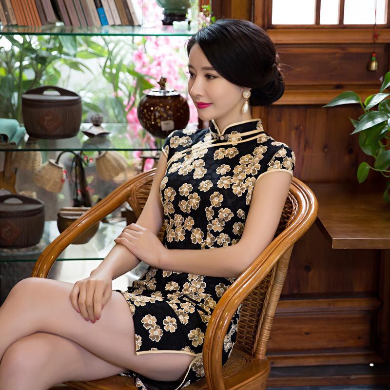0aecb182a Women's Lace Qipao Girls' Cotten Cheongsams HOT Vintage Womens Elegant  Chinese QiPao Cheongsam Evening Party Short Dress