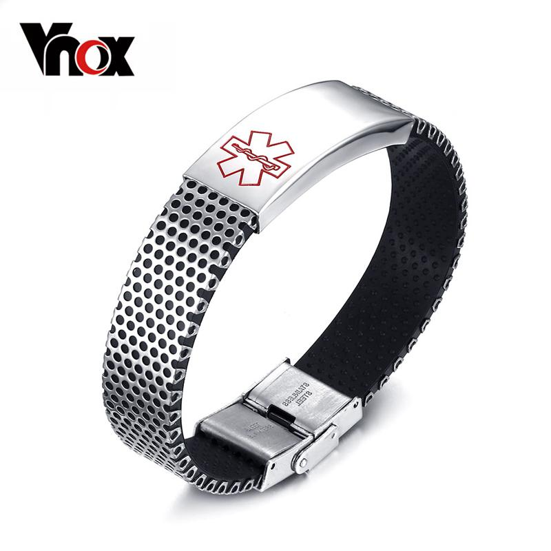 Vnox Free Engraved Medical Alert Bracelet Bangle Tag Stainless Steel ID  Hard Chain Black Silicone for Female Male