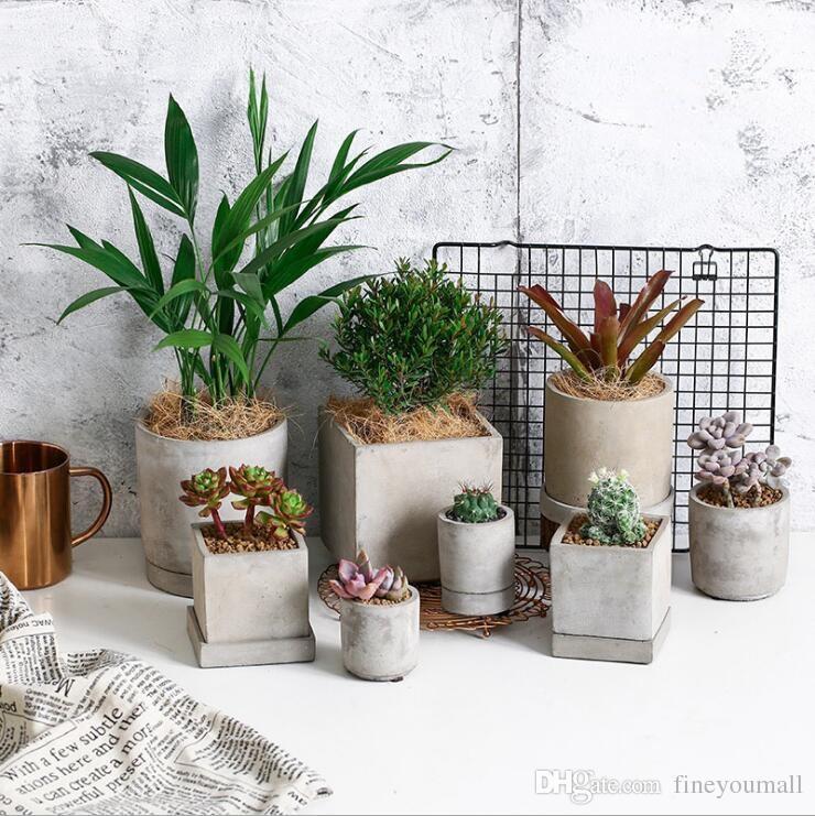 Круглый и квадратный цемент цветочный горшок плесень украшения дома ремесла суккулентные растения конкретные плантатор ВАЗа формы
