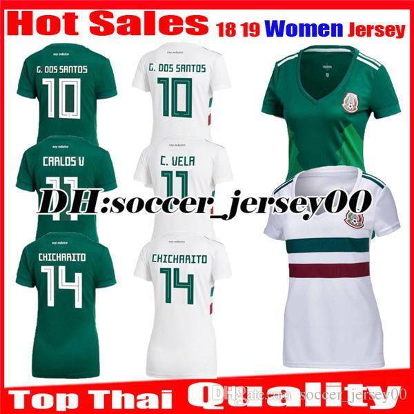 Women 2018 2019 Mexico Soccer Jersey World Cup Girl Home Green CHICHARITO  M.LAYUN R.JIMENEZ G.DOS SANTOS Away White Ladys Football Shirts Soccer  Jersey ... 474037832