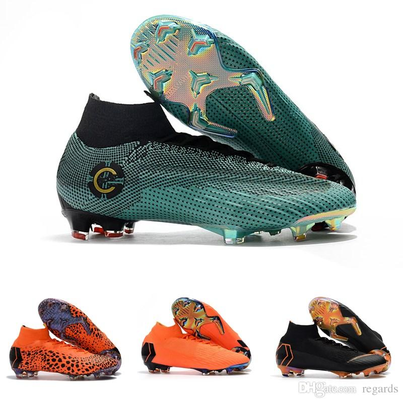 7ebc2dc7296 2019 2018 Top Quality Mens Women Kids CR7 Football Boots Mercurial Superfly  KJ VI 360 Elite FG TF IC Soccer Shoes Outdoor Soccer Cleats From Regards