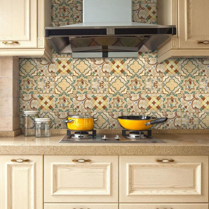 20cmx3.2m Portuguese Floor Tile Stickers Green Yellow Backsplash ...