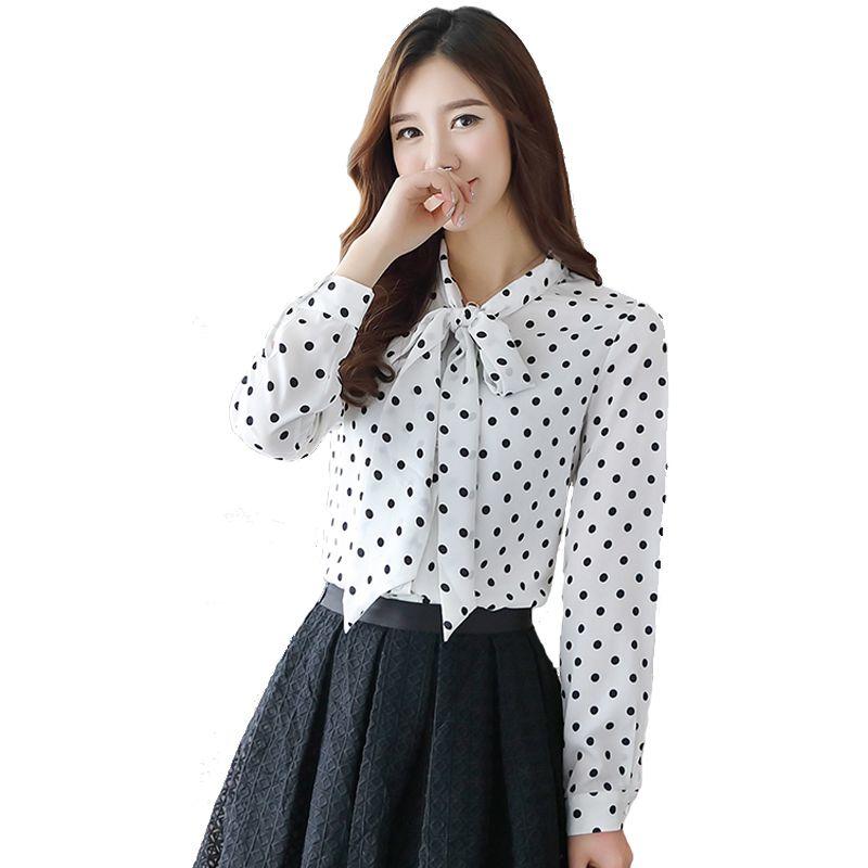 838885d341e44 Compre Descuento Moda Mujer Blusas 2018 Otoño Gasa Blusa Camisas Camisa  Coreana Del Arco De La Onda Camisa De Impresión Femenina De Manga Larga  Camiseta Top ...