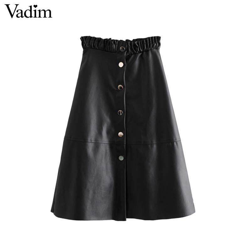 cf6926a69d Compre Vadim Mujer PU Faldas Midi De Cuero Faldas Mujer Elástico Paperbag  Cintura Una Línea Femenina Sexy Casual Elegante Falda A Media Pierna BA233  A ...
