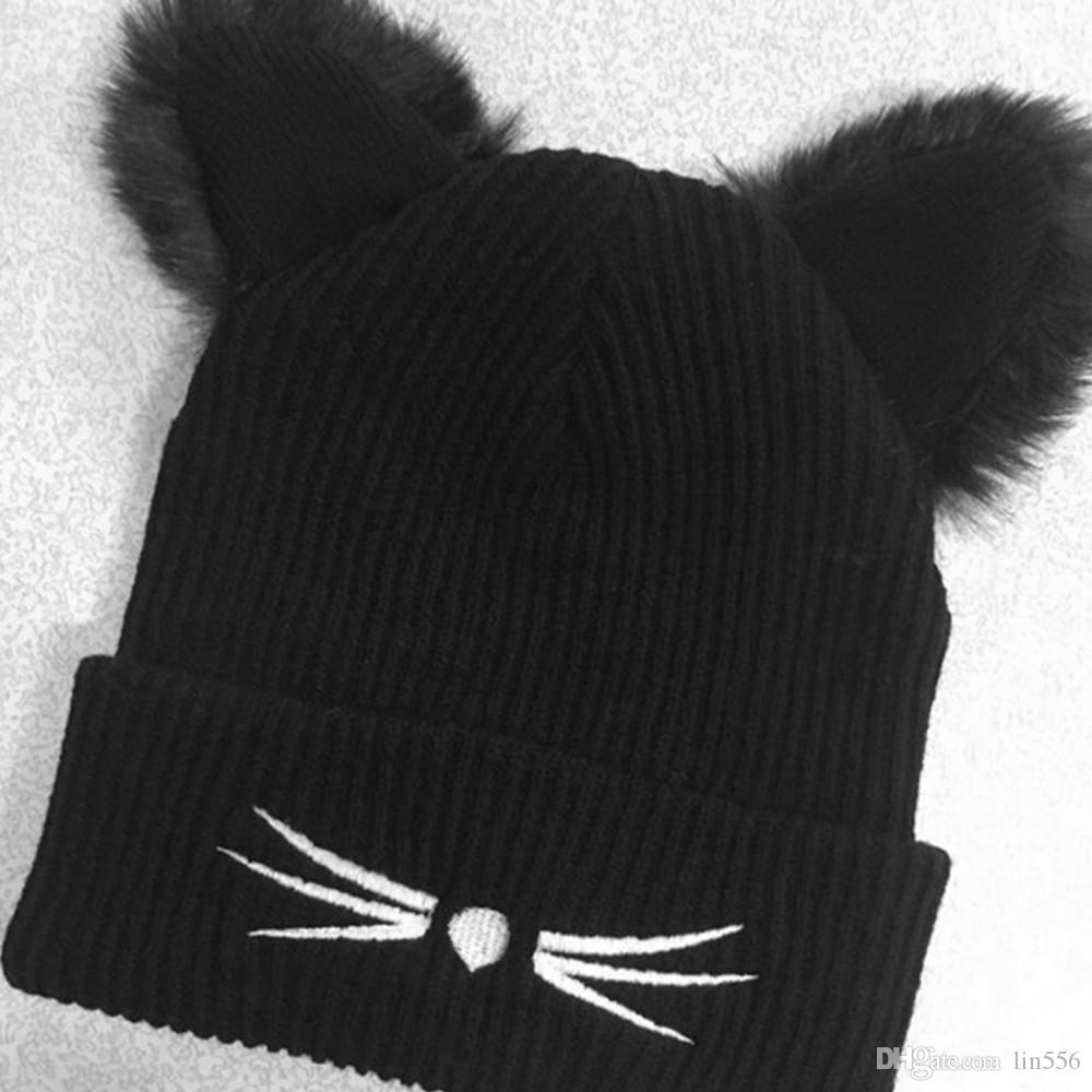 Women 2017 Winter Harajuku Woolen Knitting Beanie Devil Horns Black Cat Ear Crochet Braided Knitted Fur Cap Cute Girls Hat