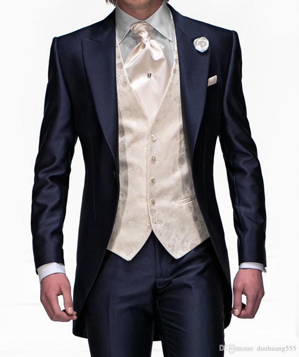 Swallowtail Men Suits One Button Shawl Collar 3 Pieces Suits(Jacket+Pants+Waistcoat) for Fashion Handsome Wedding Party Tuxedos