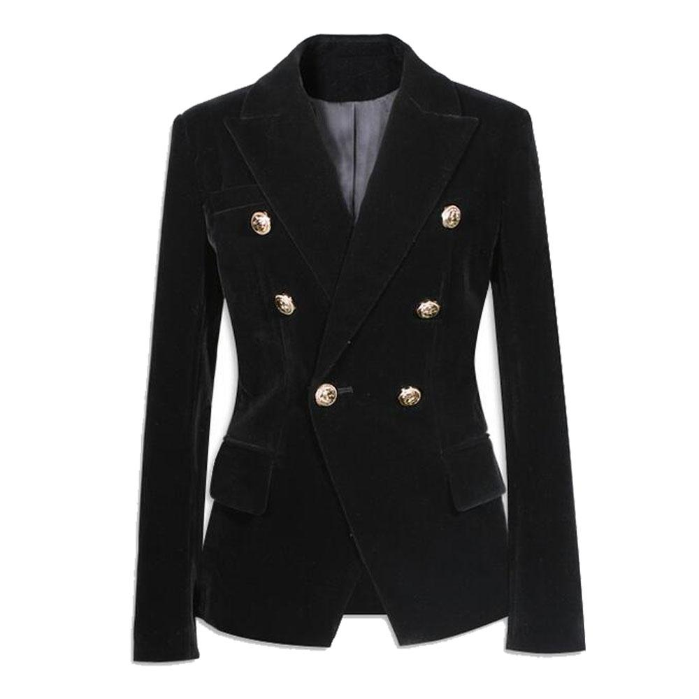 a2acd49bd223a Black Velvet Blazer Women Slim Double Breasted Button Pockets Long Sleeve  Ladies Suit Coat Jacket Style Fashion Blazers