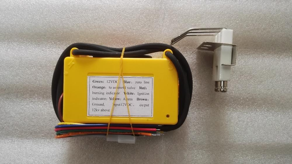 12VDC gas ignition control box with spark plug, yellow color gas ignition  module, automatic igniter unit for burner and oven
