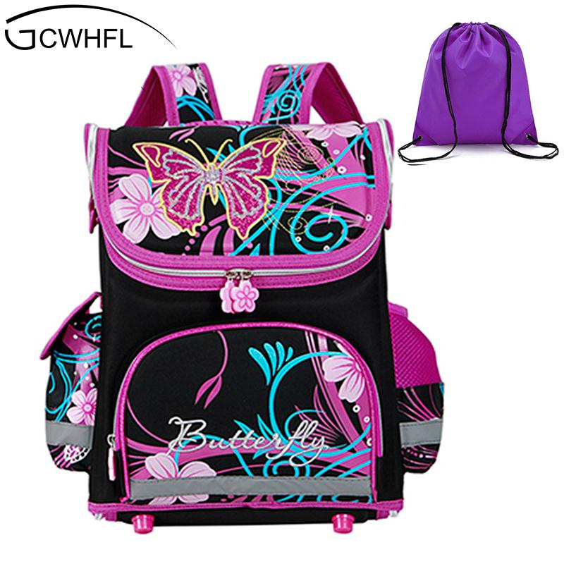 a593a83812f4 GCWHFL Children School Bags Girls Orthopedic Butterfly Design Princess  School Backpack Kids Satchel Knapsack Mochila Infantil Y18110107 Boys  Backpacks For ...