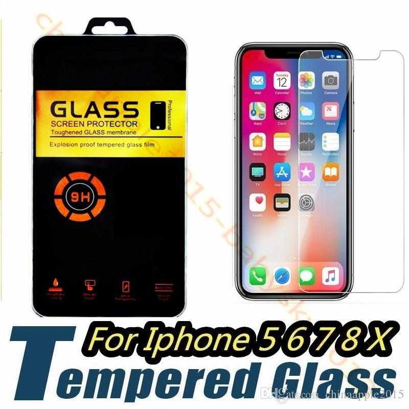 Gehärtetes glas für iphone 5 6 7 8 Plus X XR XS Max Samsung S8 S9 displayschutzfolie 2.5D 9 H härte anti-scratch film für LG Sony mit box