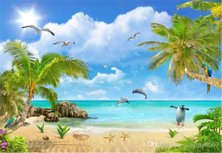 Custom Mural Wallpaper Hd Beautiful Sandy Beach Sea View: Mediterranean Scenery Seascape Wallpaper Summer Scenery