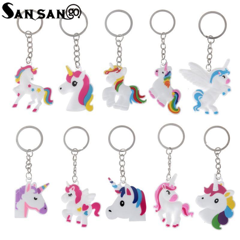 Trendy Cute Fairytale PVC Unicorn Keychain Multi Style Horse Key Holder  Alloy Key Ring For Woman Girls Gift Jewelry Keychain Key Fob From Sisan08 c8a32abb6