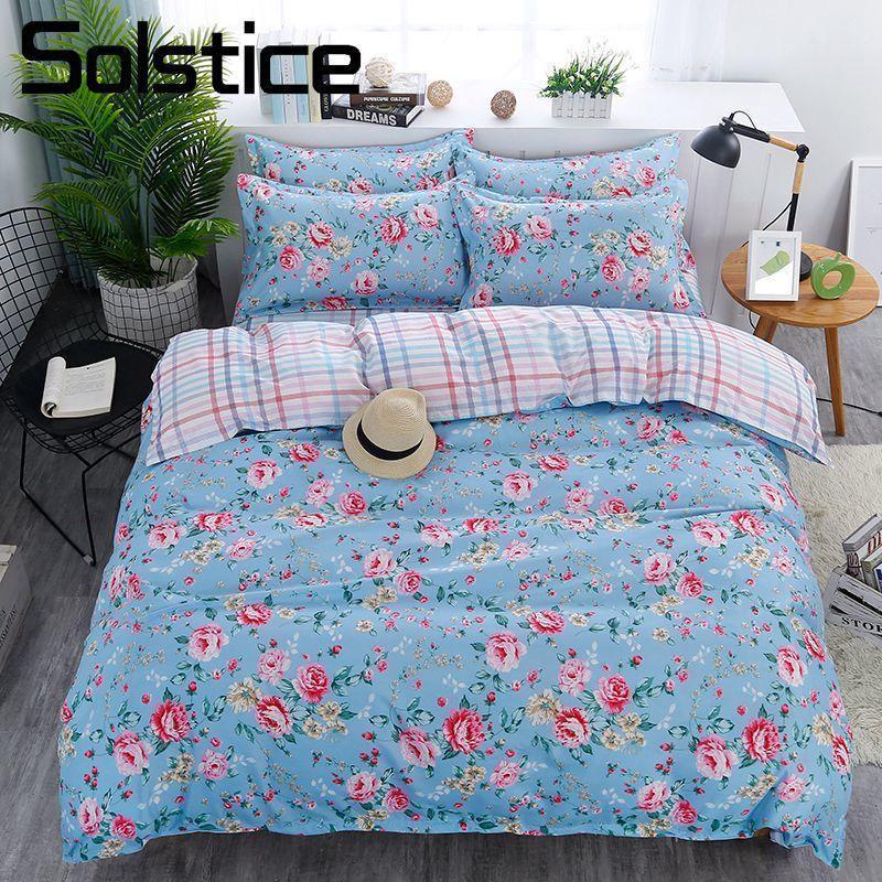 Solstice Home Textile Blue Flower Duvet Cover Pillowcase Plaid Bed