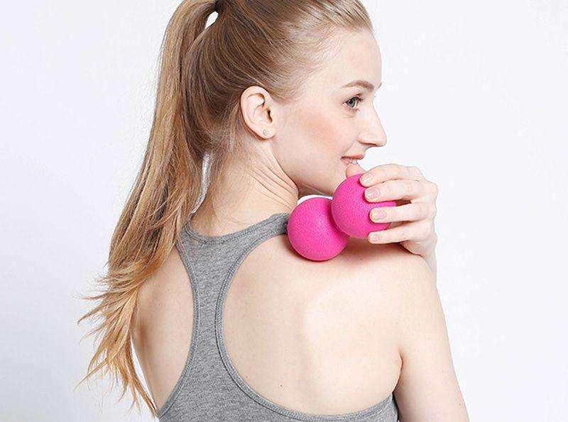 TPE Peanut Massage Ball for Pilates Yoga - Myofascial Release Fitness Massager Roller Lacrosse Ball Body Massage Fitness تمرين الكرات