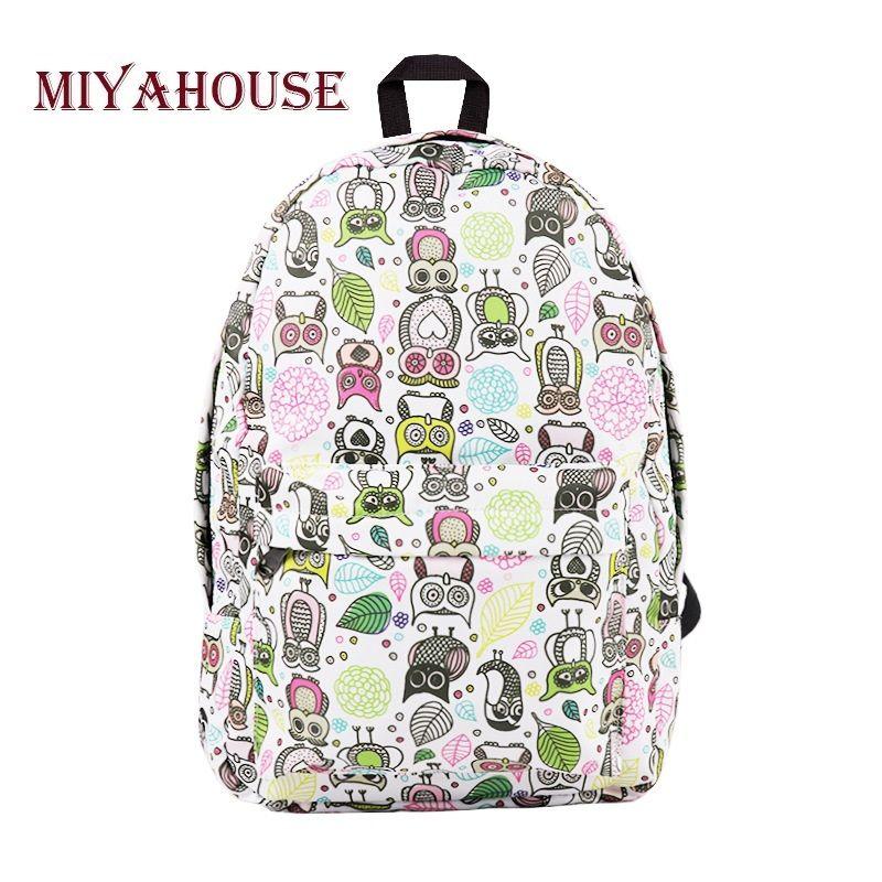 c16ee6ec6 Miyahouse Casual Cartoon Owl Printed School Backpack Women High Quality  Canvas School Bag For Teenage Girls Travel Backpack Backpacks For School  Laptop ...