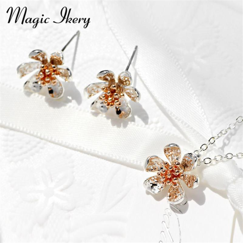 Magic Ikery 2016 Fashion gold Color Handmade Charming Earring Necklace Crystal Jewelry Sets Flower Jewelry For Women HG3021