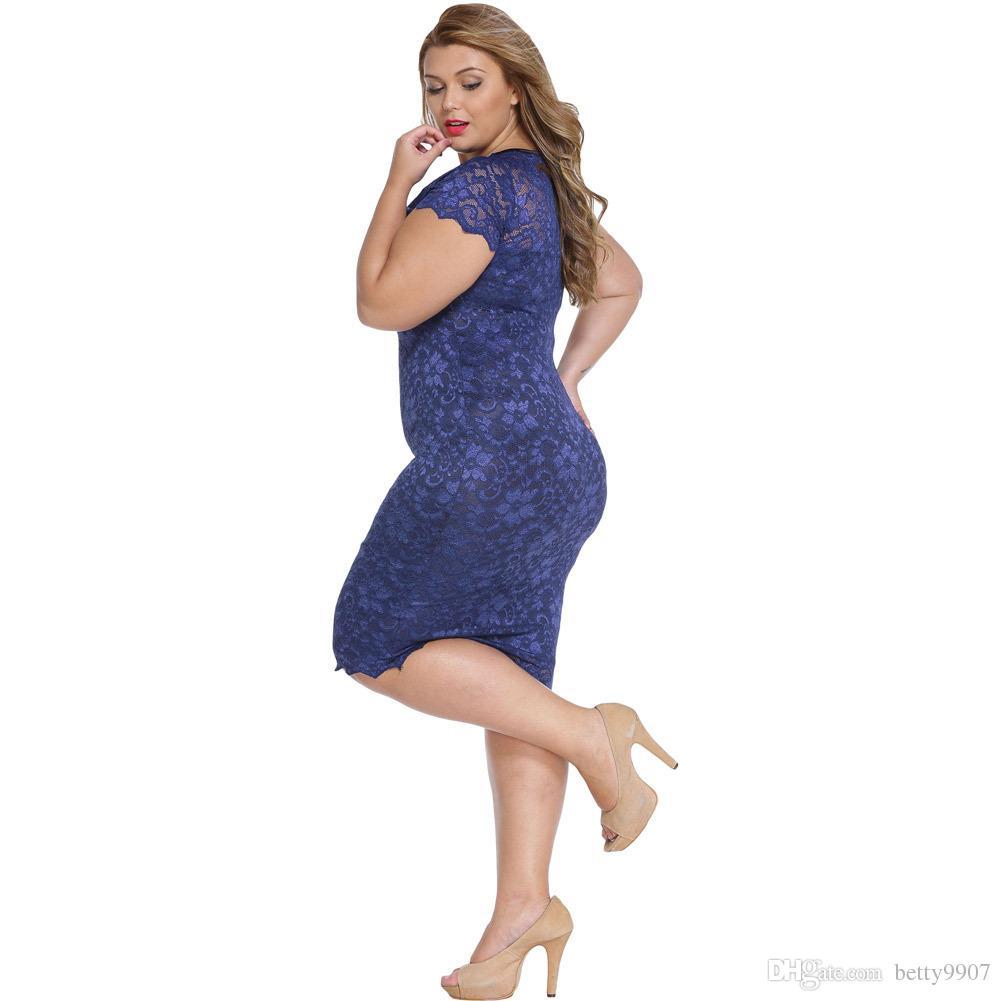 Women S Clothing Dresses Plus Size Office Ladies Roupas Femininas Summer Vestido Renda Navy Blue Scalloped V-neck Lace Midi Party Dresses