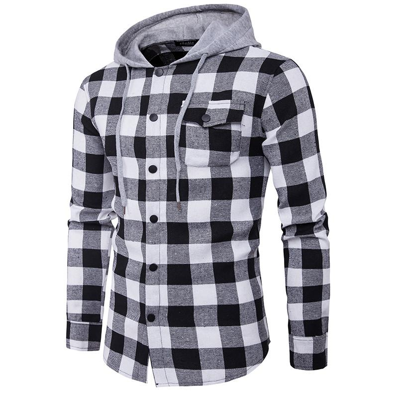 New Western Hip Hop Plaid Shirt Hombres High Street Fashion Swag Clothing Loose Hipster Longline Hombre Long-Sleeved Hoodie Shirt