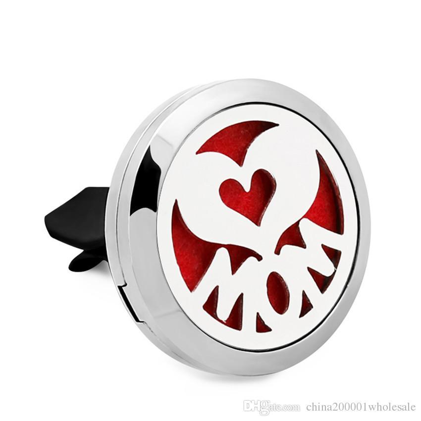 Nouvelle arrivee! Amour et coeur 30mm aimant Parfum 316L en acier inoxydable Car Aroma huile essentielle Clip de ventilation de voiture avec tampons de feutre