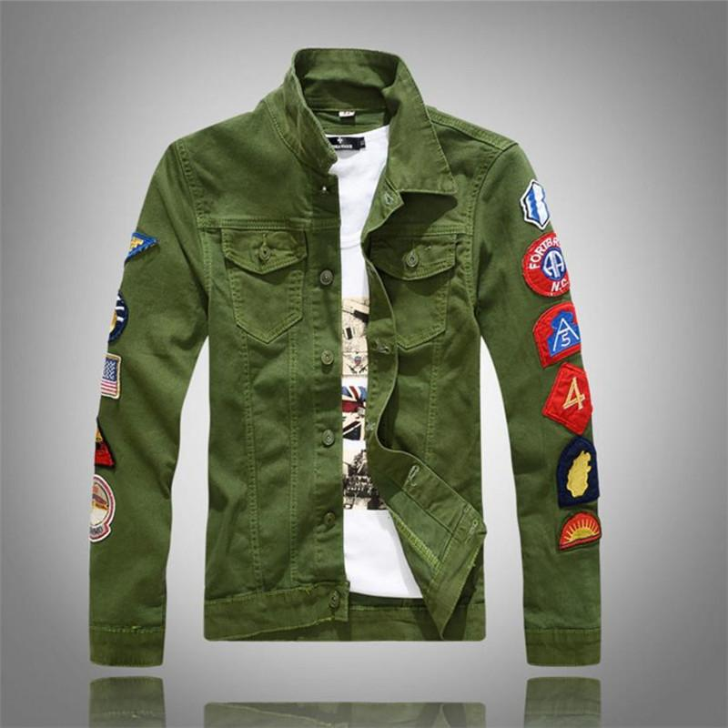 2018 New Men S Jacket Slim Fit Denim Jacket Men S Green White Coat
