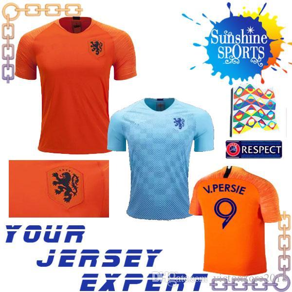 218424b168ebe Jersey de futebol de países baixos 2018 robben MEMPHIS V.PERSIE SNEIJDER  Laranja Laranja Fora camisa de uniforme de futebol Copa do mundo 18 19  Suéter