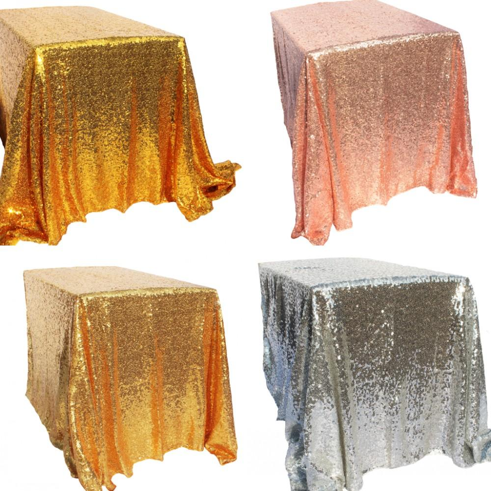 Sparkly Gold Silver 100x150cm Sequin Glamorous Tablecloth Fabric