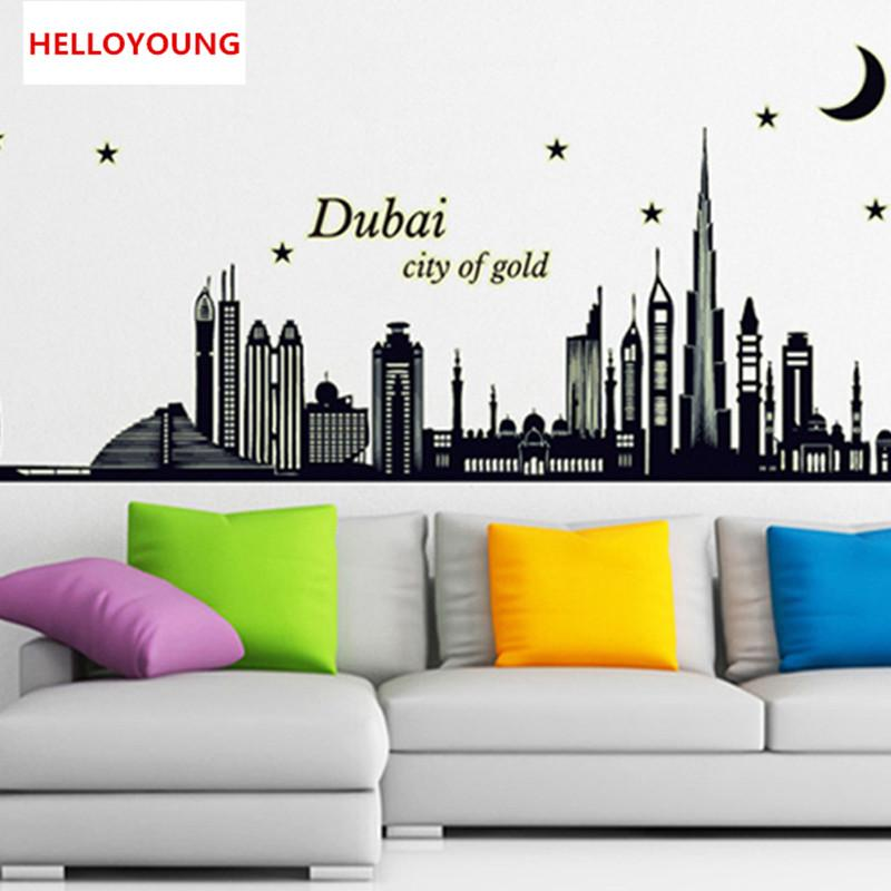 DIY Home Decorative Wholesale Korea Luminous Wall Stickers Waterproof Wall  Stickers Dubai Silhouette Furnishings Mural