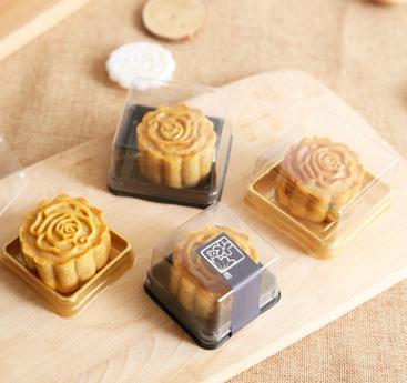 50g ay kek tepsileri ay kek ambalaj kutuları altın siyah plastik alt şeffaf kapak