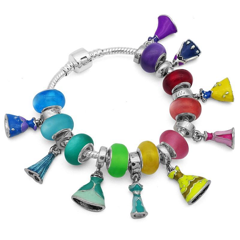 sélection premium 6f47f 1f3e5 Bijoux Coloré Princesse Robe Bracelet Bracelets pour Femme Européenne  BRICOLAGE Perle De Verre Pan Charm Bracelets Femme Bijoux