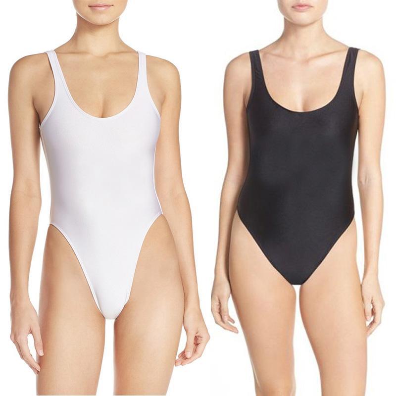 91b46e160c713 One Piece Swimsuit Blank Sexy Swim Suit 2018 Swimwear Women High Cut Low  Back Bosysuit Bathing Suit Black mayo badpak Beachwear
