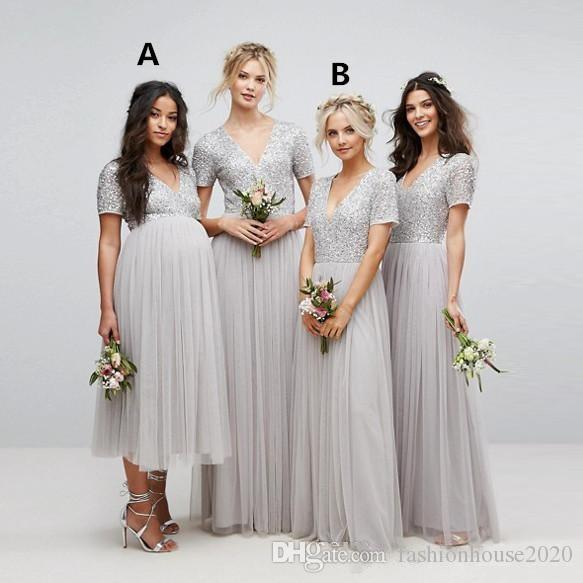 af355f17 Bridesmaid Dresses 2018 Sparkly Country Long For Weddings V Neck Silver  Sequins Short Sleeves Long Tulle Maternity Beads Maid Of Honor Gowns  Bridesmaid ...
